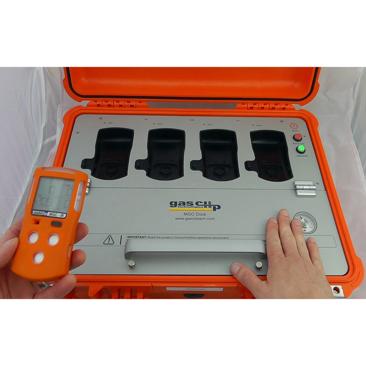 MGC_Dock_InUse_Calibration_Equipment_GasClipTechnologies_ElectrogasMonitors