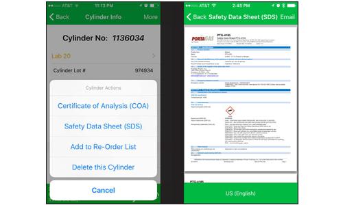 Portagas_Mobile_App_Cylinder_Information_SDS_Electrogas
